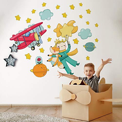 R00362 Pegatina Vinilo Pared Suave Efecto Tejido Decoración Niño Bebé Habitación Infantil Guardería Papel Pintado Autoadhesivo Principito