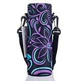 AUPET Water Bottle Carrier,Insulated Neoprene Water Bottle Holder Bag Case Pouch Cover 1000ML or 750ML,Adjustable Shoulder Strap, Great for Stainless Steel and Plastic Bottles