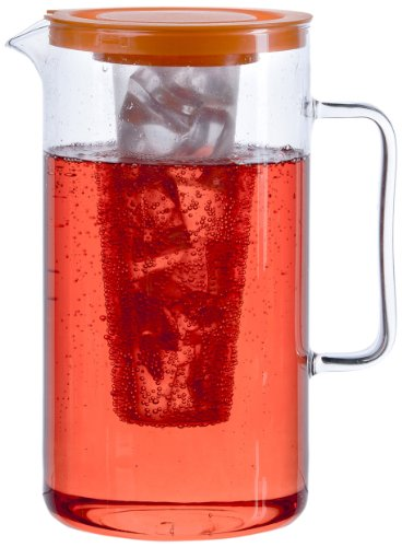 Bohemia Cristal 093 006 059 SIMAX Krug ca. 2,5 ltr. aus hitzebeständigem Borosilikatglas mit Eiswürfeleinsatz aus Kunststoff und Kunststoffdeckel orange