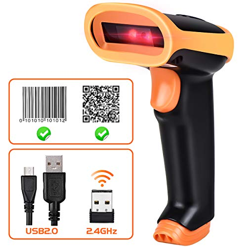 For Sale! BEVA Wireless Barcode Scanner Handeld 1D 2D QR Laser Automatic 2-in-1 Bar Code Reader 2.4G...