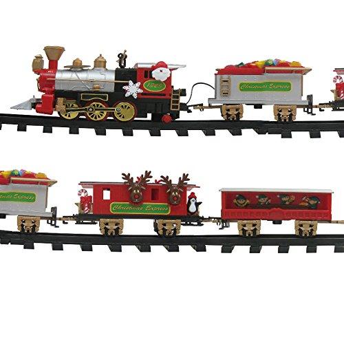 REILA Tren para Árbol con Soporte y Vagones, Rojo, 80 cm