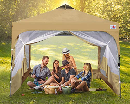 ABCCANOPY Canopy Tent 10x10 Pop Up Canopy Outdoor Canopies Portable Tent Popup Beach Canopy Shade Canopy Tent with Wheeled Backpack Bag Bonus 4Weight Bags, 4Ropes and 4Stakes, Gray and Turquoise