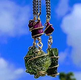 MOLDAVITE & SUGILITE Pendant in Real Gold! 12 Kt Genuine Crystal 19