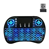 i8 LED Backlit Wireless Keyboard Remote 2.4GHz Rechargeable Controller with Keyboard Touchpad Mouse Combo for Android TV Box Smart TV Laptop HTPC with USB Receiver (Three Colors)