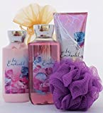 Be Enchanted Valentines Day Gift Set - Bath and Body Works - Shower Gel, Triple Body Moisture Cream, Lotion, and Bath Sponge with Gift Packaging.