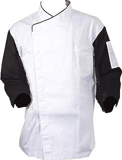 Black Long Sleeves White Cook Chef Waiter Coat Uniform Jacket