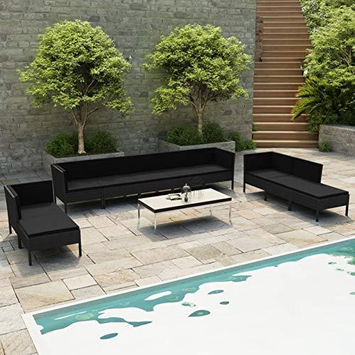 Ksodgun Set Muebles de jardín 10 Piezas y Cojines Conjunto de Jardín Set Conjunto Jardin Muebles Exteriores ratán sintético Negro + Negro