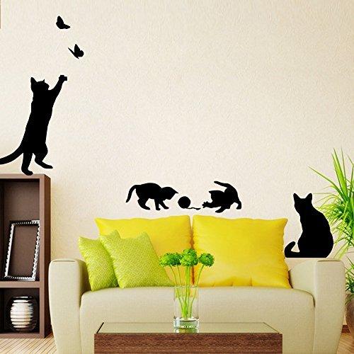 ZooArts ウォールステッカー ウォールシール ウォールペーパー 可愛いな猫 遊び 防水 壁紙 環境保護 はがせ...