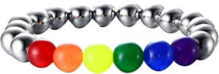 Nanafast Men Women Lava Rock Diffuser Bracelet, Black Matte Agate/White Turquoise Stone Elastic Rainbow Yoga Beads Healing Bracelets Bangle