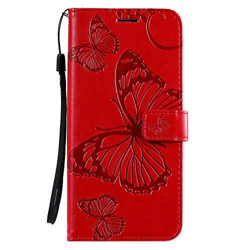 Jeewi Hülle für Oppo Find X2 Hülle Handyhülle [Standfunktion] [Kartenfach] [Magnetverschluss] Tasche Etui Schutzhülle lederhülle klapphülle für Oppo Find X2 - JEKT042104 Rot