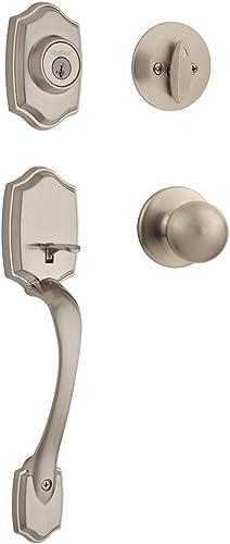 Kwikset 96870-099 Belleview Single Cylinder Front Door Handleset with Polo Door Knob Featuring SmartKey Security in S...