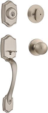 Kwikset 96870-099 Belleview Single Cylinder Front Door Handleset with Polo Door Knob Featuring SmartKey Security in Satin Nickel