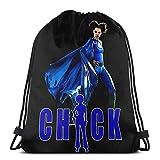 LREFON Mochila Saco Postura del Pollito Azul Logo-Mochila Saco-Negro