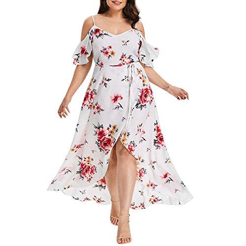 VEMOW Plus Size Elegante Damen Frauen Casual Kurzarm Kalt Schulter Boho Blumendruck Casual Täglichen Party Strand Langes Kleid Schulterfrei Strandkleid (Weiß, 54 DE / 5XL CN)