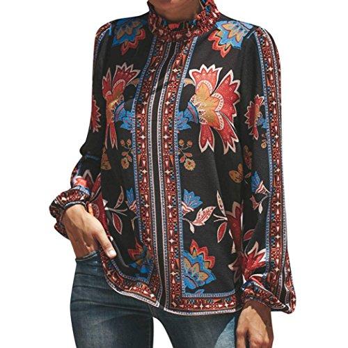 Lazzboy Damen Hippie Bluse Langarm Boho Ethno Puff SleevesTops Knopf Stand Collar Stehkragen ChiffonShirt(44(XL),Mehrfarbig)