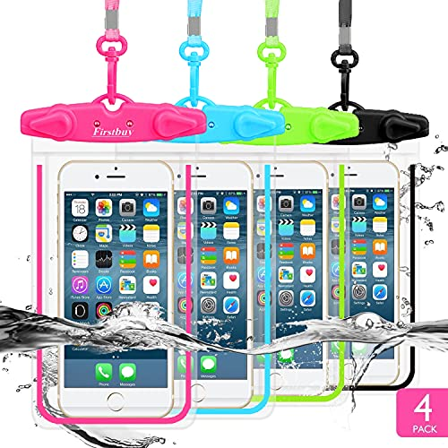 LENPOW Waterproof Phone Case, 4 Pack Universal Waterproof Pouch Dry Bag with Neck Strap Luminous Ornament for Water Games Protect iPhone 12 11 Pro XS XR X Max SE Plus Galaxy S21 S20 Note Google LG HTC
