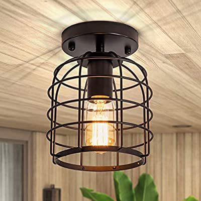 Black Flush Mount Ceiling Light Industrial Semi-Flush Mount Ceiling Lamp Hallway Light Fixtures Rustic Metal Cage Small Ceiling Light Farmhouse Light Fixture for Porch Bedroom Kitchen Stairway Foyer