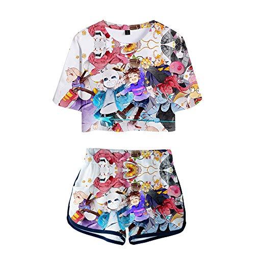 Undertale Pullover Kreative T-Shirt + Shorts Frauen Casual Short Tee Kurzarm Tops Drucken Shorts Unisex (Color : A09, Size : M)