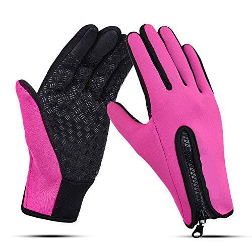 Gants imperméables Unisexes à écran Tactile pour vélo de vélo Gants à Doigt Complet Vélo Coupe-Vent VTT Gants de Sport Hommes Femmes S-XL - Rose Rouge, S
