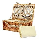 Cesta de picnic para 4 personas de Sutton, con manta de lana crema y accesorios - Ideas de regalos para cumpleaños, aniversario y felicitaciones