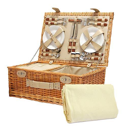 Sutton 4 persona con cestino da picnic con panno in crema e accessori - idee regalo per compleanni, anniversari e congratulazioni presenta
