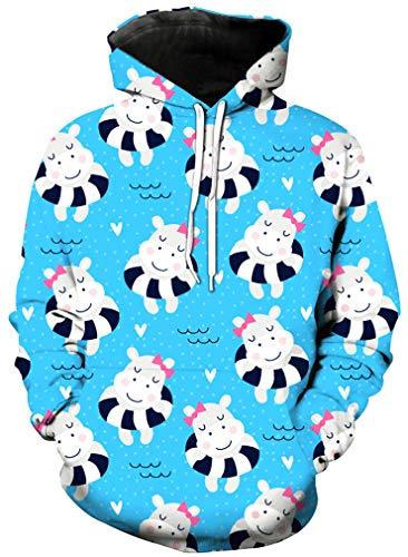 Ocean Plus Mädchen Einhorn Kapuzenpullover Hoodie Meerjungfrau Kapuzenpulli mit Aufdruck Kinder Sweatshirt Pullover (XXL (Körpergröße: 145-155cm), Schwimmring Einhörner)