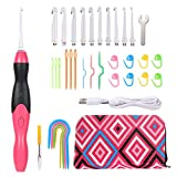 ZIIVARD Lighted Crochet Hooks Set, 11 Interchangeable Heads 2.5 mm to 8 mm Light Up Crochet Hook Rechargeable Knitting Needles Weave Sewing Tool with Accessories and Case (Red)