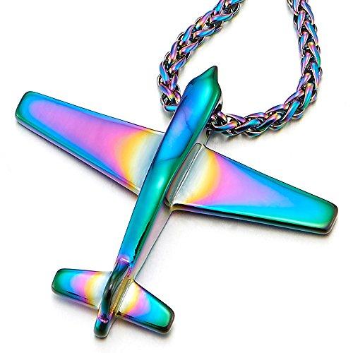 COOLSTEELANDBEYOND Unisex Edelstahl Bunte Flugzeug Anhänger Herren Damen Halskette mit 60cm Stahl Weizen-Kette