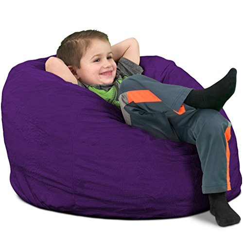 ULTIMATE SACK Bean Bag Chairs in Multiple Sizes and Colors: Giant Foam-Filled Furniture - Machine Washable Covers, Double Stitched Seams, Durable Inner Liner. (Kids Sack, Purple Suede)