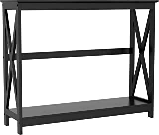 Yaheetech 2-Tier Console Tables Side/End Table with Shelf X-Design Wooden Hall Desk for Living Room/Bedroom/Hallway Black, 101.5x30x81.3cm