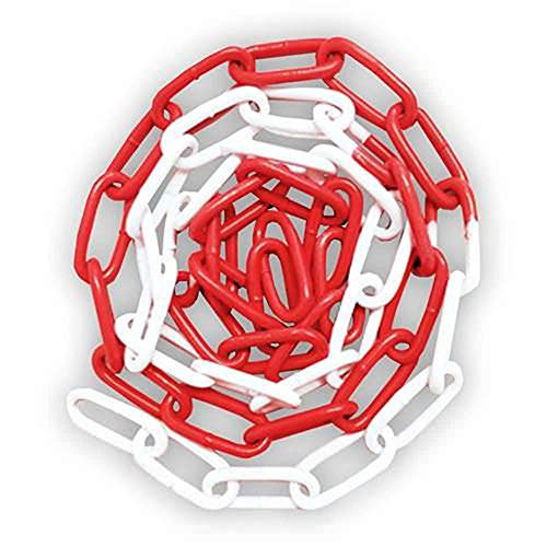 30m Absperrkette - Stahl - rot/weiß beschichtet - Ø 4mm