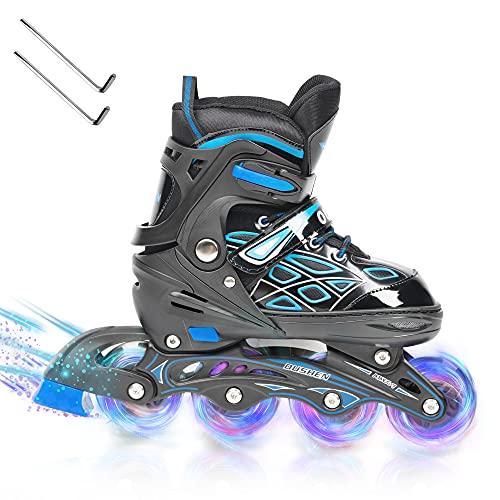 Opurtdor Patines en línea,Ajustable Diversión Flashing Roller para Chicos y Chicas Hombres Mujeres Zapatos de Patinaje de Velocidad para Principiantes Especializados(Azul, Small(26-30))