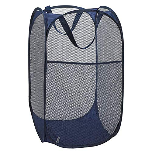 Larpur Popup Mesh Laundry Basket Collapsible and Portable Clothes Washing Laundry Hamper with Reinforced Carry Handle Blue