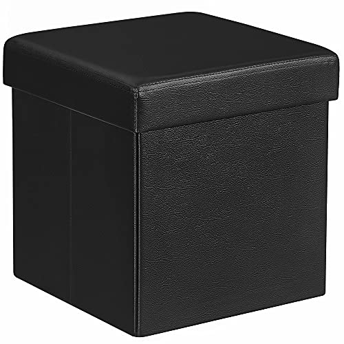 SONGMICS 38 x 38 x 38 cm Baúl Puff Taburete para almacenaje Plegable Carga máxima de 300 kg Negro LSF101