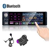 CamechoシングルDin Bluetoothカーラジオ4インチ容量性タッチスクリーンカーステレオFM / AM/RDSラジオ受信機、デュアルUSB/AUX-in/SDカードポート/バックアップカメラ入力+ハンドルコントロール