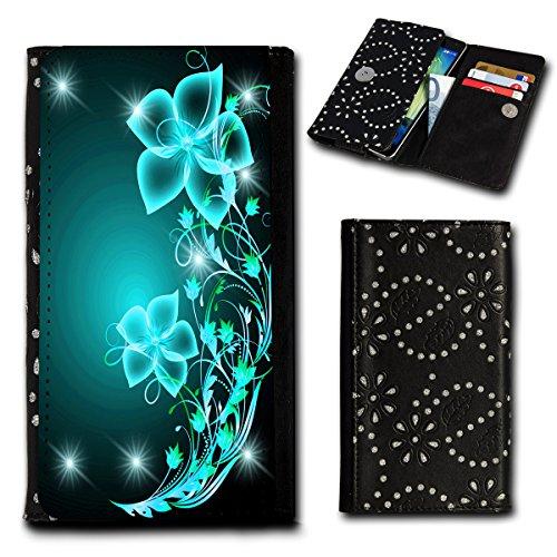 Strass Book Style Flip Handy Tasche Case Schutz Hülle Foto Schale Motiv Etui für HTC One A9 - Flip SU4 Design6