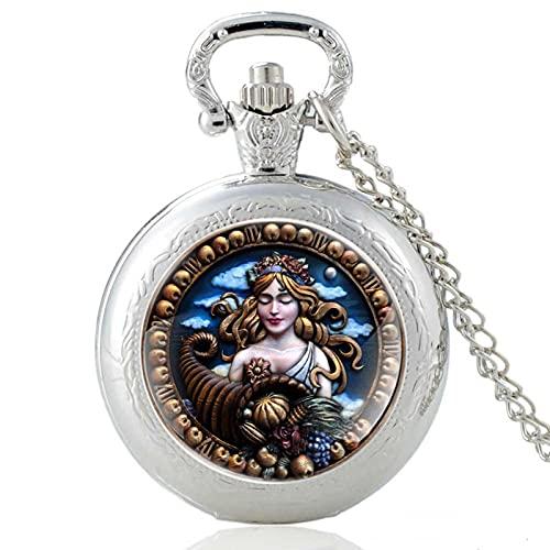 TUDUDU Reloj De Bolsillo De Cuarzo Vintage Conch Girl para Hombres Y Mujeres, Collar con Colgante, Cadena De Horas, Reloj, Regalos, Cadena De Longitud De Unos 80 Cm