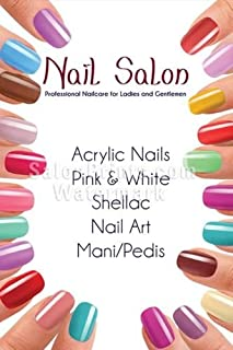 Global Printing Services Nail Salon Poster - Custom Store Name Nail Salon Manicure Spa Pedicure Acrylic Colorful Poster || NSD-157 (18in x 27in, Poster (Polymatte))