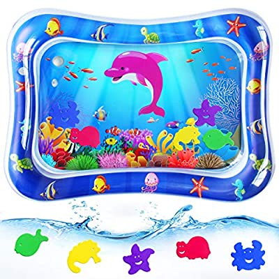 RMJOY Baby Tummy-Time Water Mat – Infant Water Play Mat Sensory Water Playmat Pad for 3 6 9 Months Newborn Toddler Boys Girls Kids Perfect Indoor Activity Centers Fun Game Gift