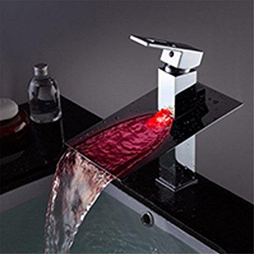 WasserhahnTap Cuivre matériel lumière LED Chute d'eau Chaude Froide Bassin d'eau Robinet