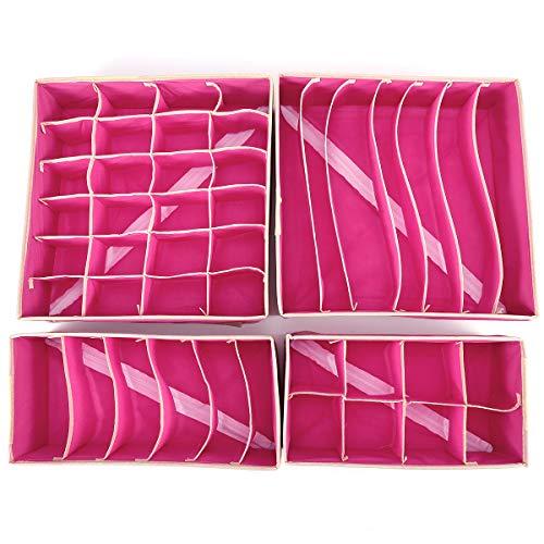 4er Set Schubladenorganizer Faltbar Aufbewahrungsboxen Pink für Unterwäsche, Büstenhalter, Dessous, Schals, Krawatte, Socken und Andere...