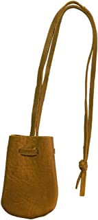 Small Brown Leather Drawstring Medicine Tobacco Pouch/Bag/Necklace