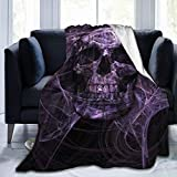Mystic Purple Skull Soft Throw Blanket All Season Microplush Warm Blankets Lightweight Tufted Fuzzy Flannel Fleece Throws Blanket for Bed Sofa Couch