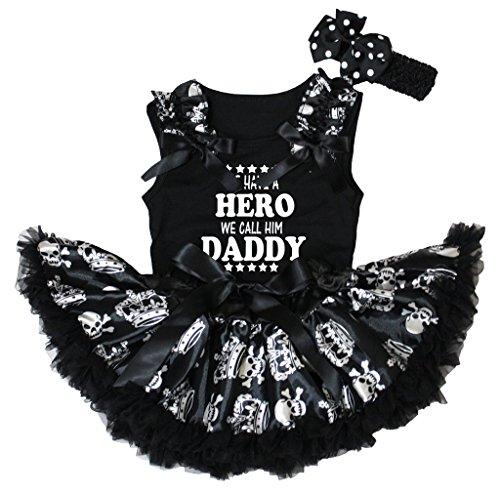 Petitebelle Hero nous Appelons Lui Daddy Dessus Noir Tête de mort Couronne bébé Jupe Ensemble de 3–12 m - Noir - 4-6 ans