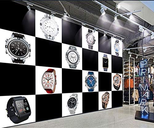WLPBH Muursticker, 3D, zelfklevend, winkelcentrum, winkel, tent, vierkant, wit en zwart, klok, behang, decoratie voor kinderkamer, wand, 3D-fotopapier, prinsessenpin 450x300 cm (WxH) 9 rayas - autoadhesivas