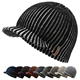 zowya Brim Beanie Hat for Men & Women Warm Winter Skully Cap Daily Visor Beanie Thick Billed Hats Winter Hats with Brim Vintage Acrylic Contrast Color (Black)