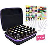 Tuzazo Hard Shell Essential Oils Carrying Case with EVA Foam Insert Holds 30 Bottles 5ml 10ml 15ml, Come with 206 pcs Essential Oil accessories (Purple&Black)