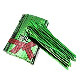 500 PCS Metallic Twist Ties – Reused Twist Ties for Packing Bread, Candy, Pastries, Gift Crafts and Party Decor - 3.9 inch Green Cable Tie for Bags Holiday Presents