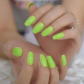 CoolNail Fashion Solid Color Apple Green Color Ballerina Coffin UV False Nails Flat Hand Finger Fake Nails Press on Summer Wear Nail Art