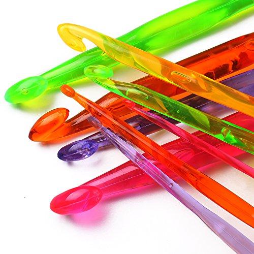 Luxbon Conjunto de 9 Tamaños Ganchos de Ganchillo de Plástico Agujas de Tejer Acrílico Multicolor Conjunto de Ganchillo 3mm-12mm